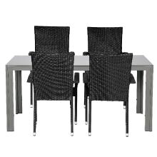 Ruokailupöytä ja neljä tuolia